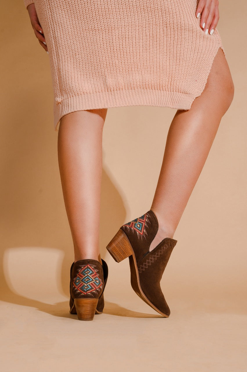 Ankle Boots Geometric Brown