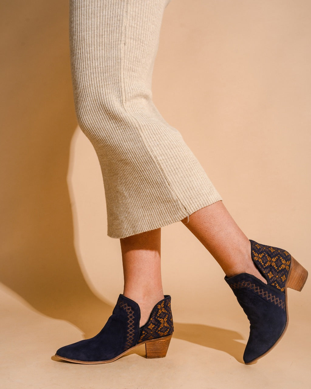 Ankle Boots  Crochet Navy Blue