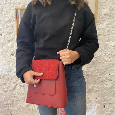 Chain Box Bag Burgundy