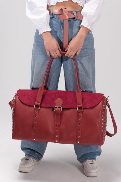 Stud Textured Duffel Bag Burgundy