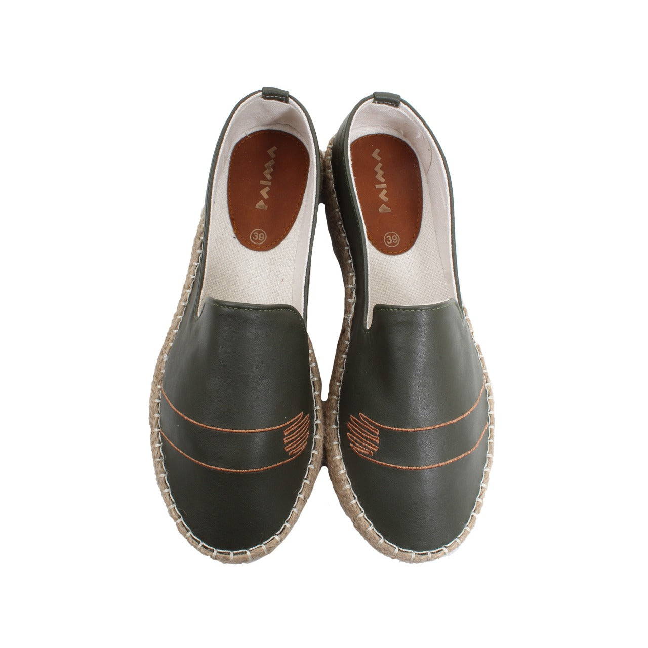 Leather Espadrilles Abstract Olive