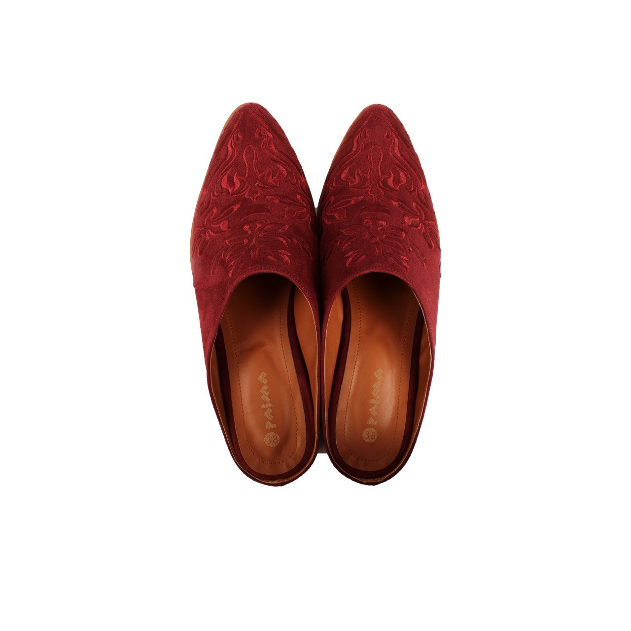 Damask Mules Burgundy