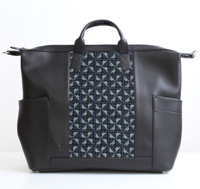 Black XBlue Flower Weekender Backpack