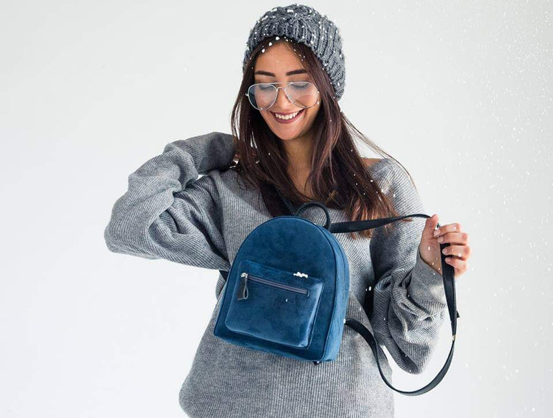 Blue Velvet Mini Backpack