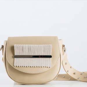 Beige Fringes Belt Bag