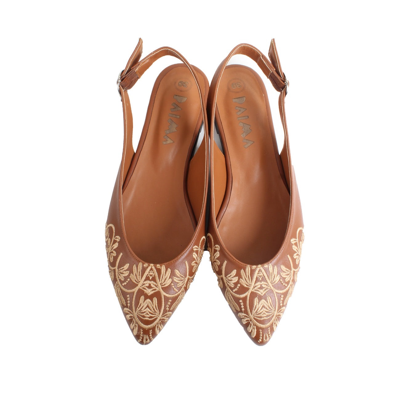 Embroidered Pointy Sandals Havane