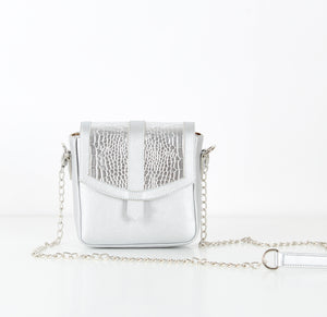 Silver SnakeSkin Mini CrossBag