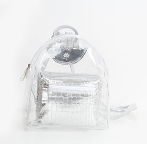 Silver Croc Transparent Mini Backpack