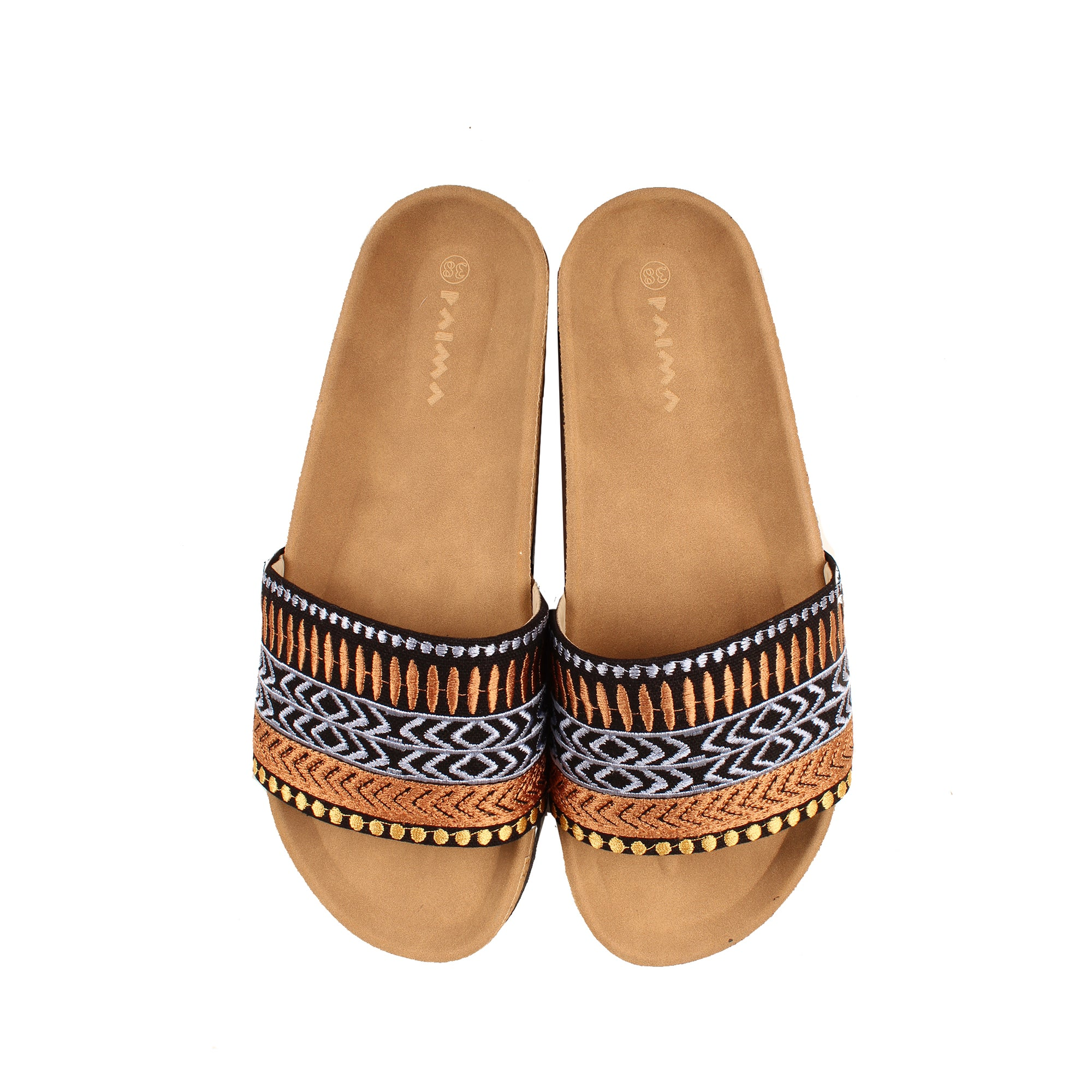 Geometric Boho Slides Black