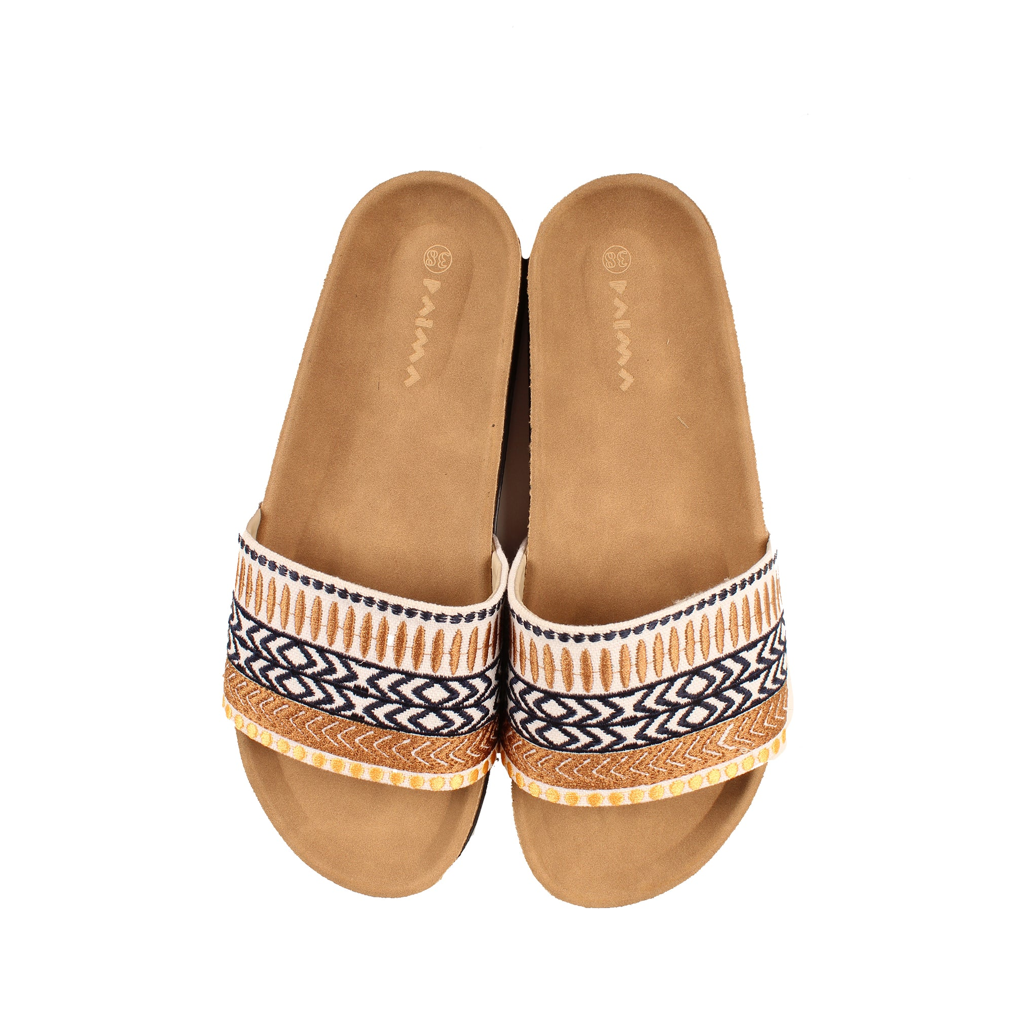 Geometric Boho Slides Brown x Navy
