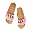 Geometric Floral Slides White x Burgundy