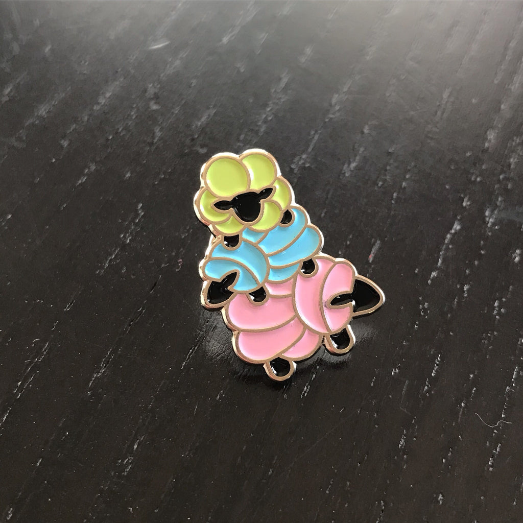 Stacked Sheep Enamel Pin