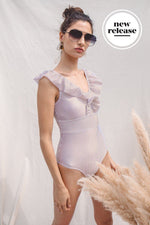 Load image into Gallery viewer, Vinvena_5'11'' | Size L | A Cup_Retro One-Piece_Mocca and White Stripe | Levante