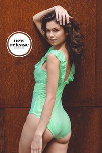 Sonja_5'9.5'' | Size M | B Cup_Retro One-Piece_Green and White Stripe | Layla