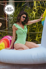 Load image into Gallery viewer, Sonja_5'9.5'' | Size M | B Cup_Retro One-Piece_Green and White Stripe | Layla