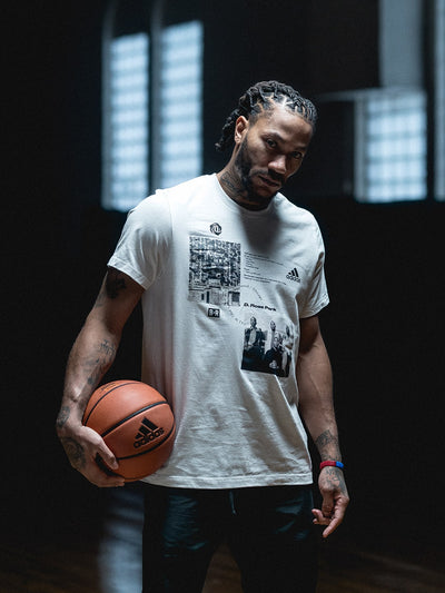 "Derek Rose wearing the Bleacher Report x adidas  D. Rose Park ""Son of Chi"" T-Shirt"