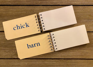 Word Flash Card Note Pads (chick, barn)