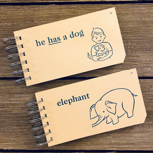 Word Flash Card Note Pads (he has a dog, elephant)