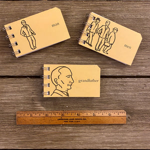 Mini Sight Word Flash Card Notepads - Man, Men, Grandfather