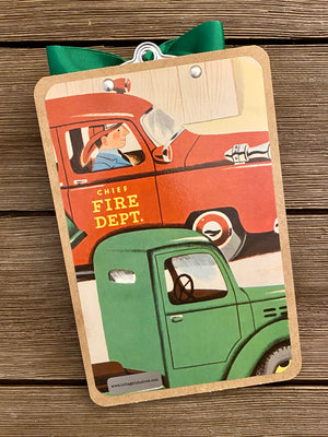 "Richard Scarry - Memo Clipboard ""Army, Fix-It Garage, Fire Dept."""