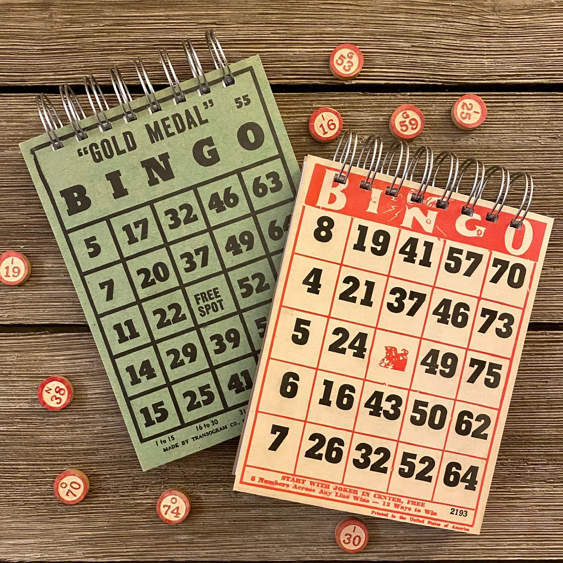 Bingo Notepads (red and green) - Set #1