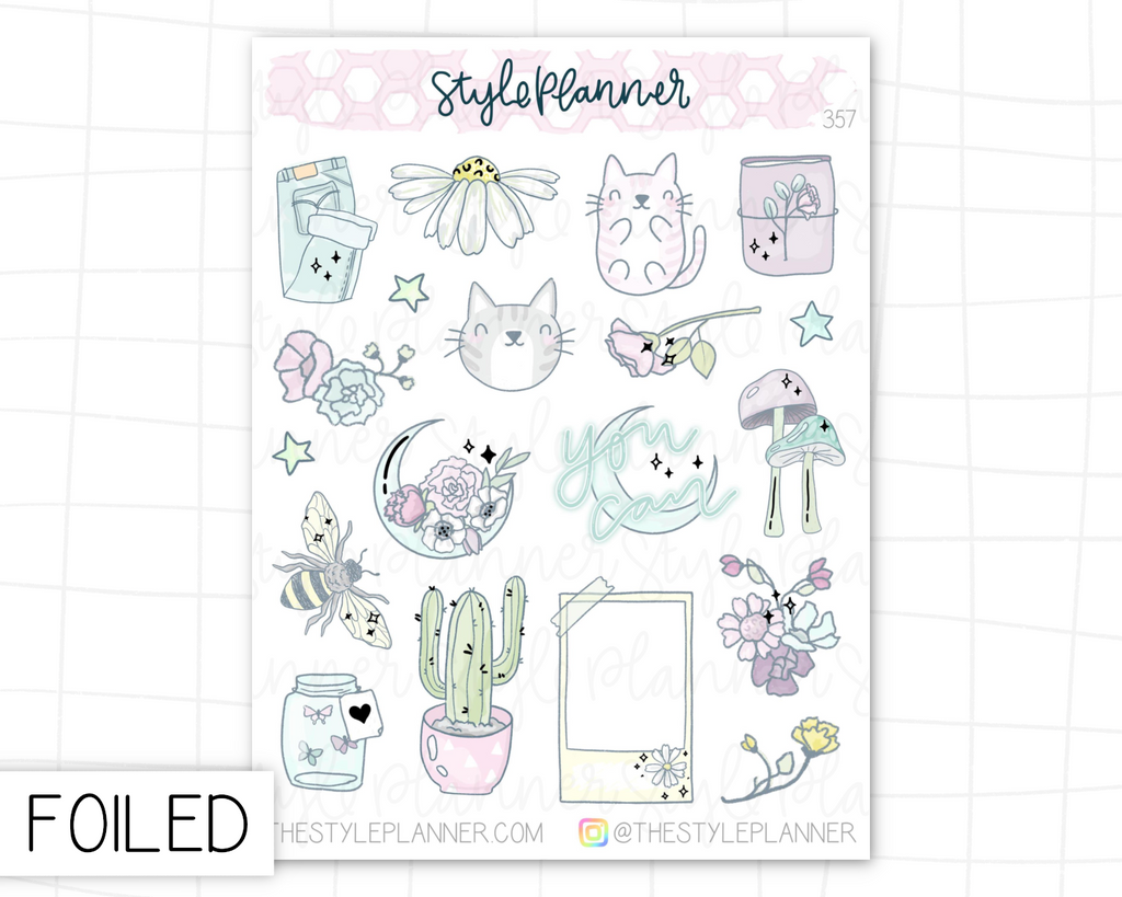 Florals Small Deco Stickers With Silver Foil