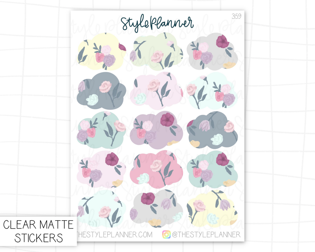 Florals Clouds | Clear Matte Stickers