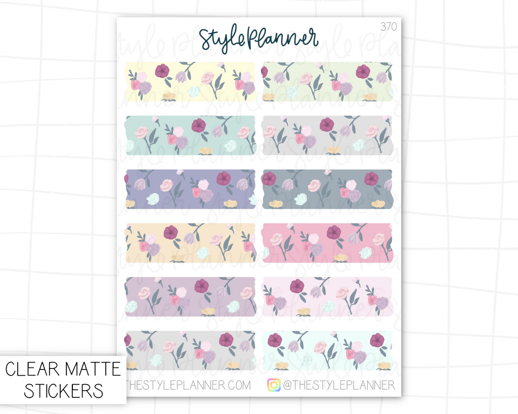 Florals Faux Torn Washi | Clear Matte Stickers