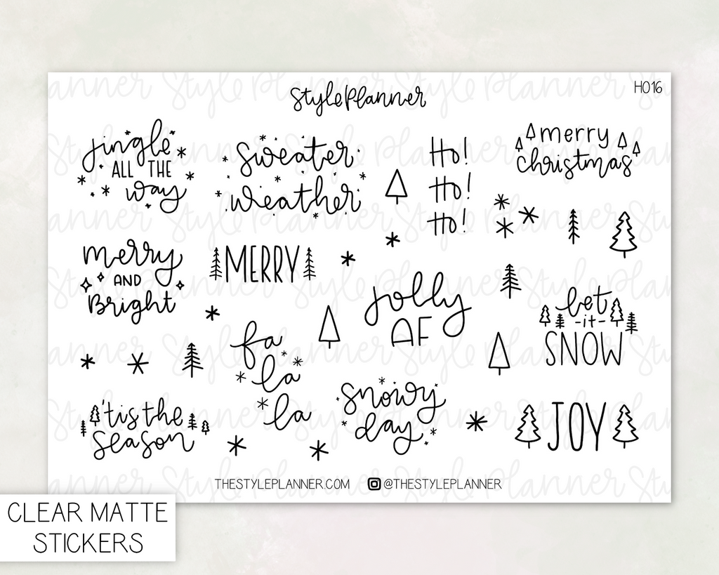 Christmas Quotes Clear Stickers With Holo Foil