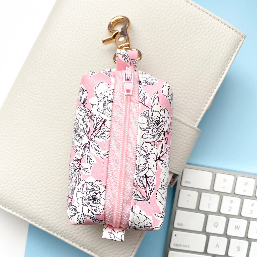 Pink Floral Small Keychain Bag