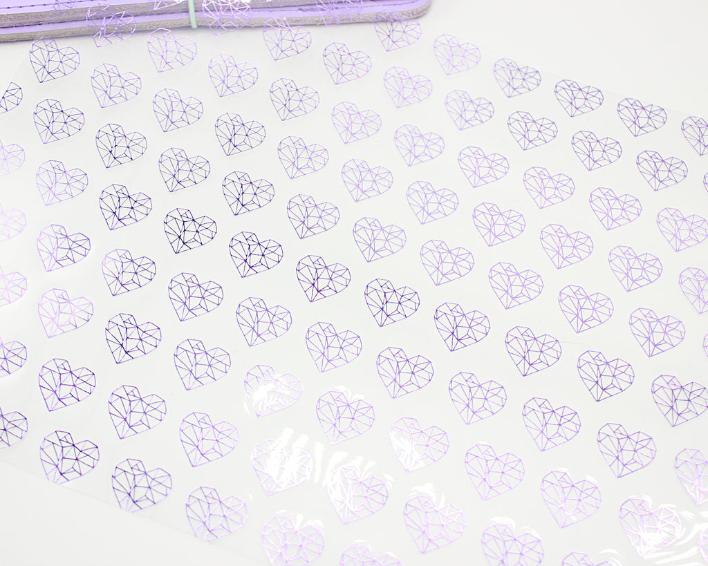 Geo Heart Acetate Paper With Purple Foil