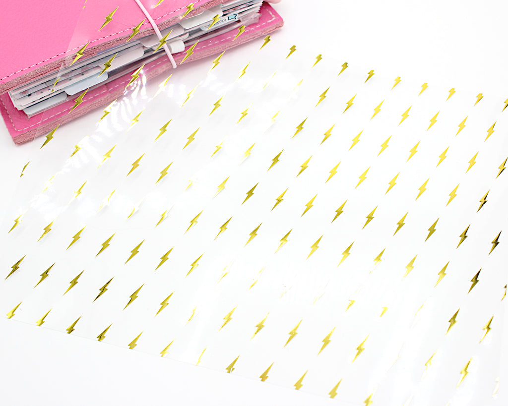 Lightning Bolt Clear Acetate With Gold Foil