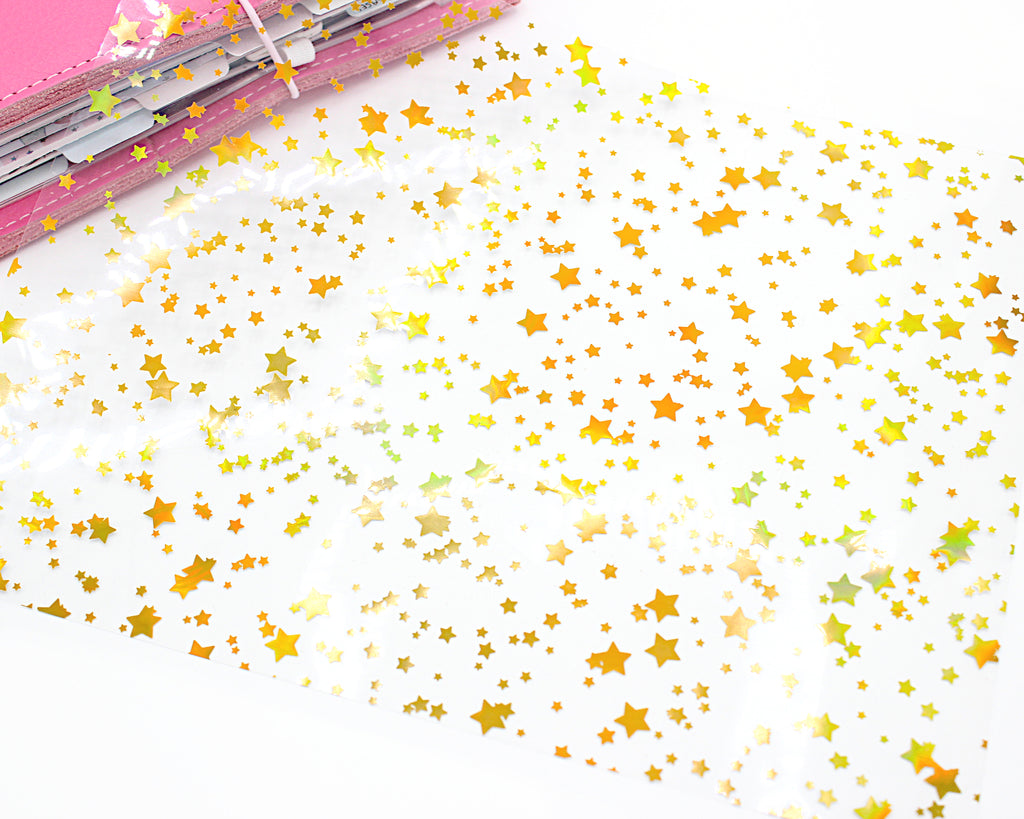 Stars Gold Holo Clear Acetate Paper