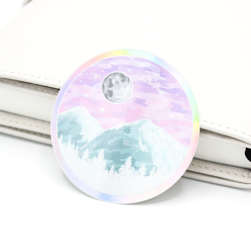 Pastel Mountain Scene Holo Vinyl Sticker