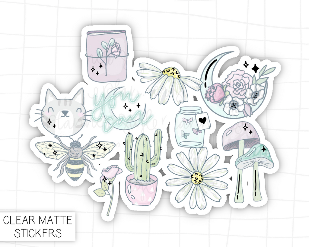 Florals Sticker Die Cut Set With Silver Foil