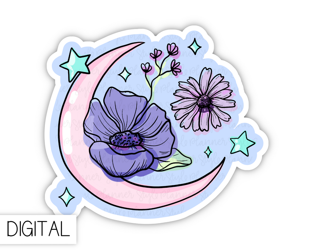 DIGITAL Pastel Moon and Florals
