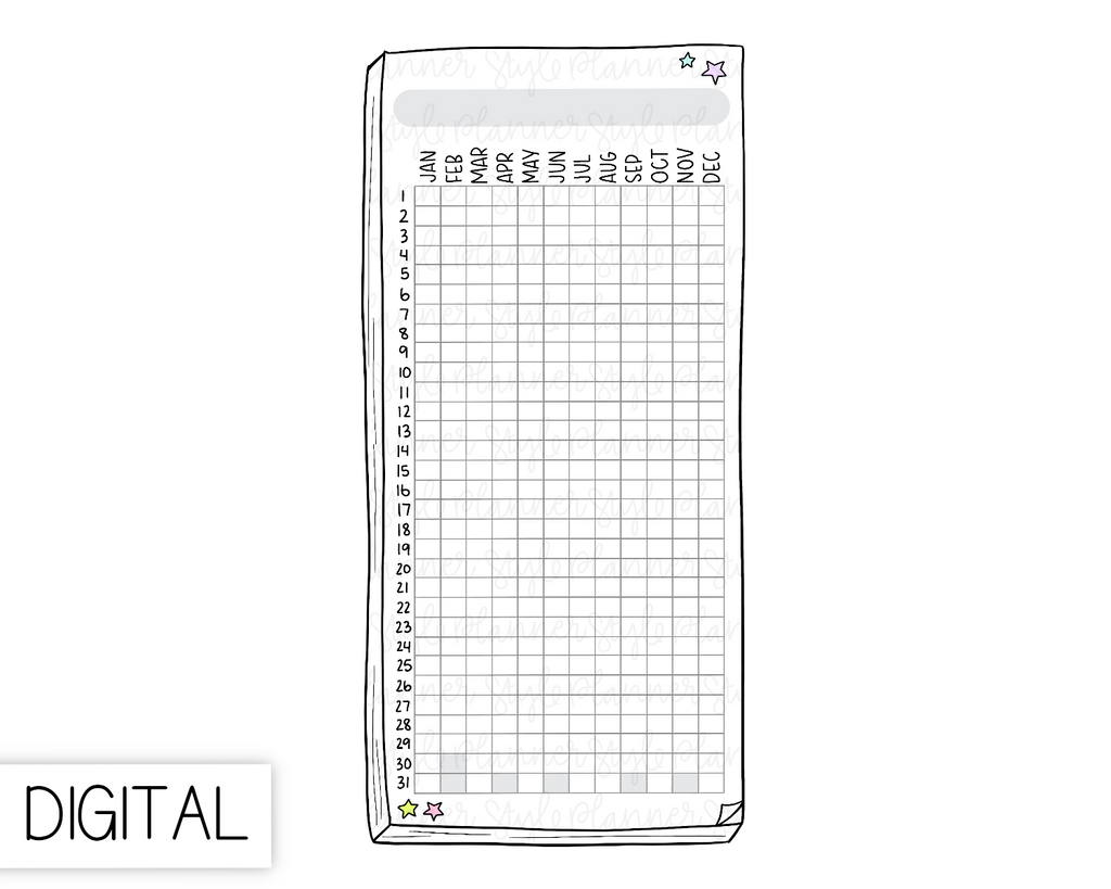 DIGITAL Weeks Yearly Tracker Flake