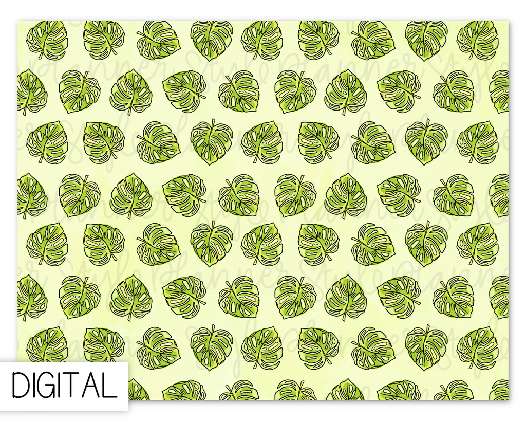 DIGITAL Green Monstera Paper