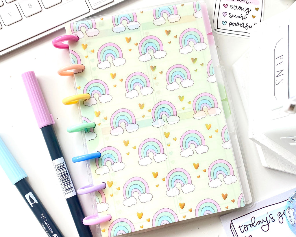 Cute Rainbows Vellum Paper With Gold Holo Foil