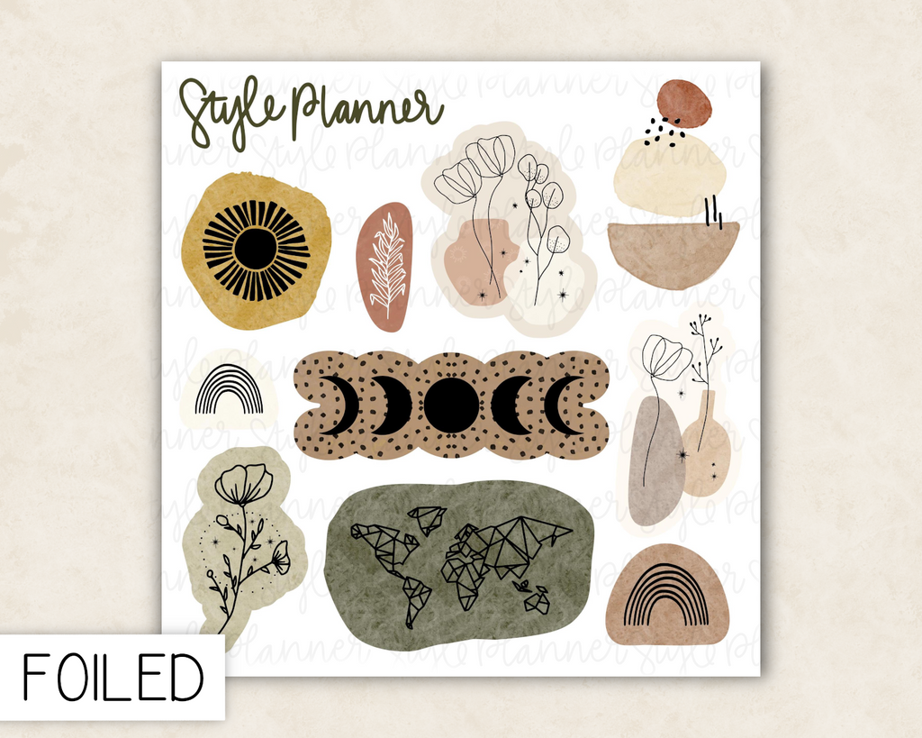 Boho Deco Stickers With Gold Foil