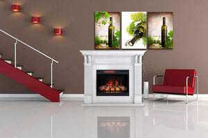 "Bella Mantel Package - 28"" Insert with 55"" Large, White Mantel and 5,200 BTU Infrared Heater"