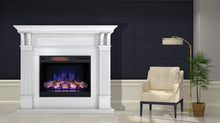 "Load image into Gallery viewer, Bella Mantel Package - 28"" Insert with 55"" Large, White Mantel and 5,200 BTU Infrared Heater"