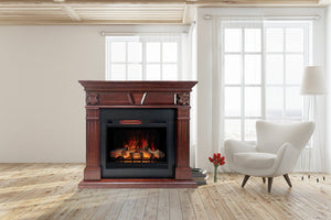 "Marcella Mantel Package - 28"" Insert with 55"" Large, Cherry Wood Mantel and 5,200 BTU Infrared Heater"