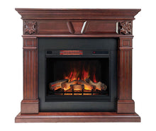 "Load image into Gallery viewer, Marcella Mantel Package - 28"" Insert with 55"" Large, Cherry Wood Mantel and 5,200 BTU Infrared Heater"