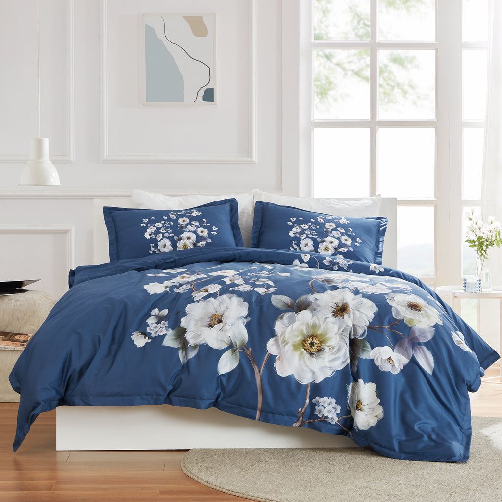 sleep zone cottonnest bedding digital printed classic peony flower duvet cover sets  navy blue bedroom sunshine