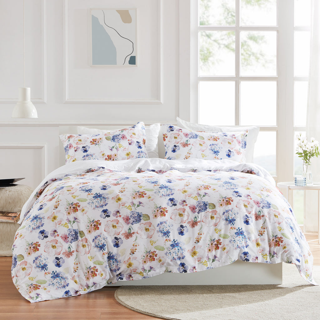 sleep zone cottonnest bedding digital printed classic floral blossoms colorful flower duvet cover sets white bedroom sunshine