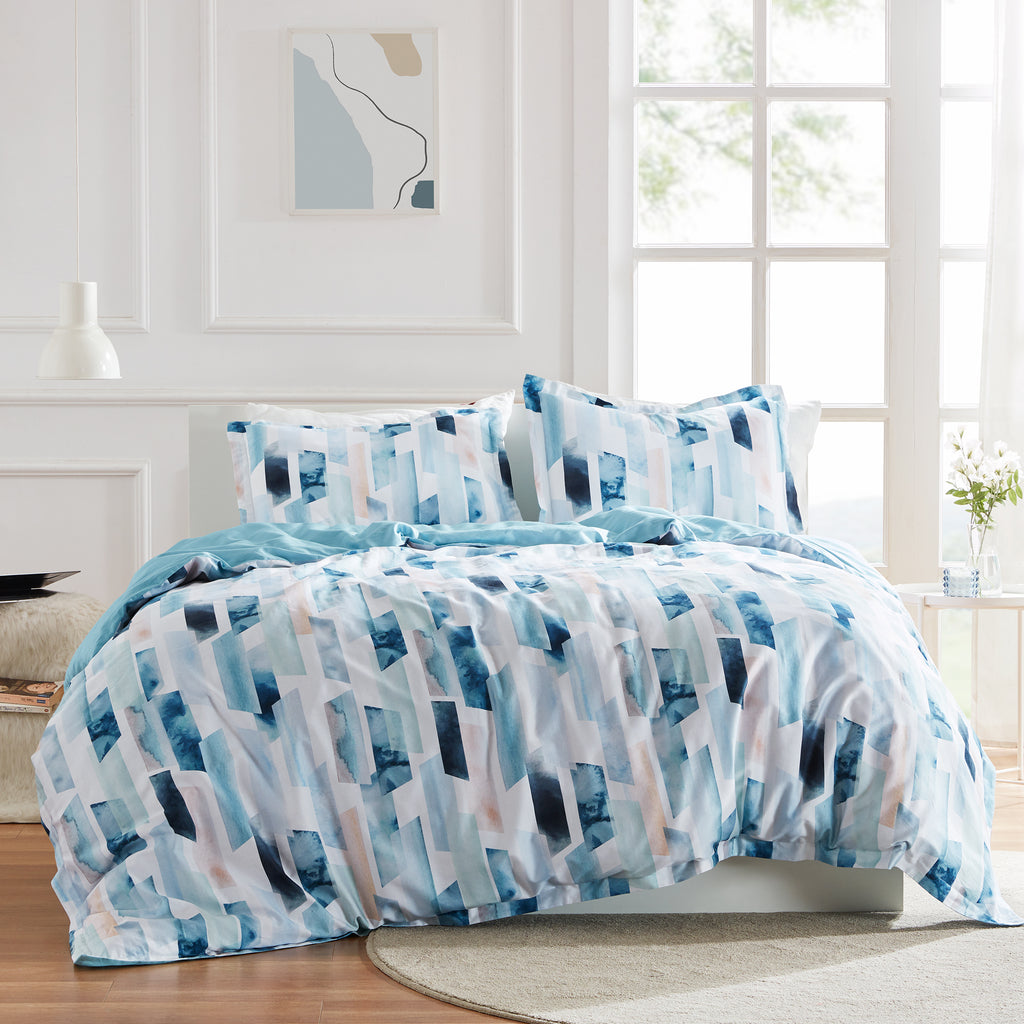 sleep zone cottonnest bedding digital printed geometry ink blue  duvet cover sets bedroom sunshine