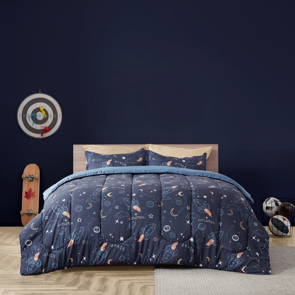 sleep zone bedding space adventure kids comforter set boy navy blue bedroom with balls