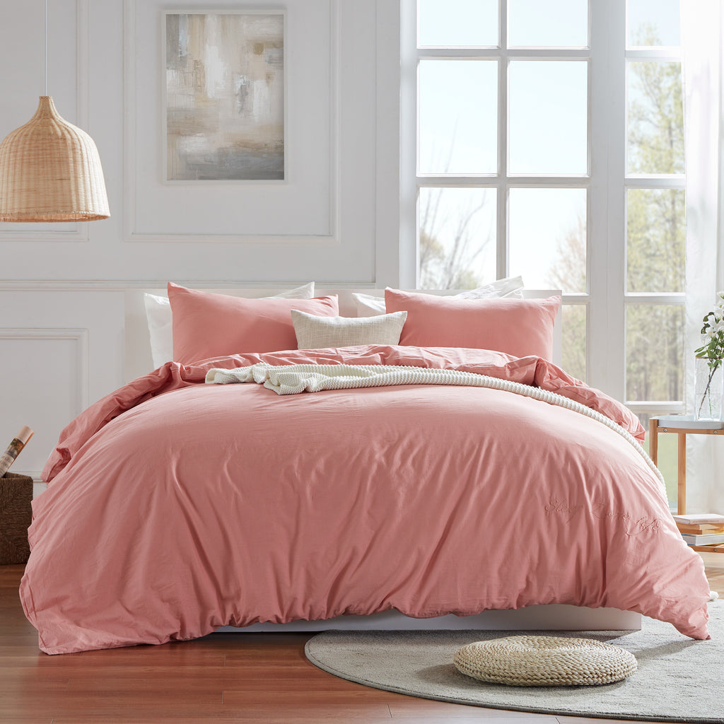 sleep zone cottonnest bedding washed cotton duvet cover set rosette red pink bedroom sunshine
