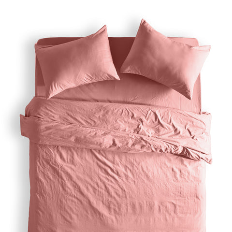 Cottonnest® 100% Washed Cotton Solid Duvet Cover Set
